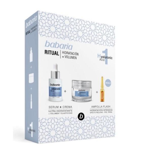 Babaria hyaluronic acid serum ultra-hidratante 82ml + crema 50ml + tratamiento flash ampolla 1u.
